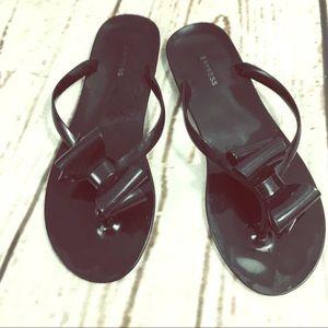 Like New Express Size 8 Black Flip Flops